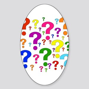 Rainbow Question Marks Oval Sticker