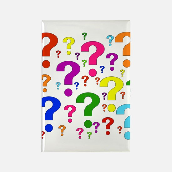 Rainbow Question Marks Rectangle Magnet (100 pack)