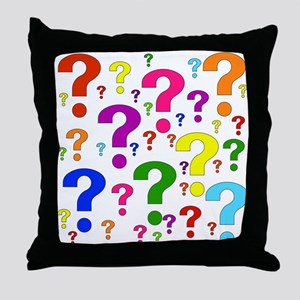 Rainbow Question Marks Throw Pillow
