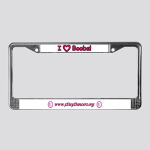 I Love Boobs Breast Cancer License Plate Frame