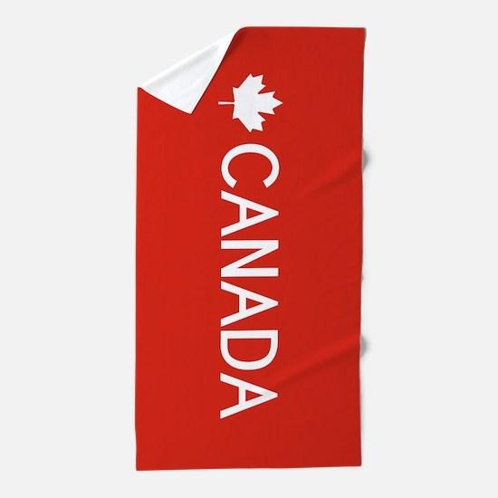 Canada (White Maple Leaf) Beach Towel