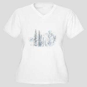 Winter Trees Women's Plus Size V-Neck T-Shirt