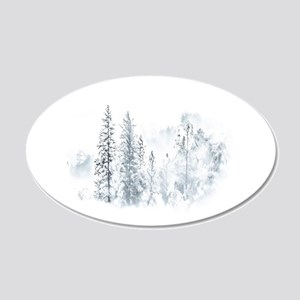 Winter Trees 20x12 Oval Wall Decal