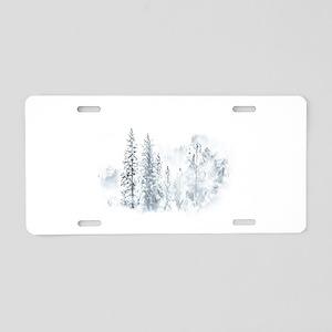 Winter Trees Aluminum License Plate