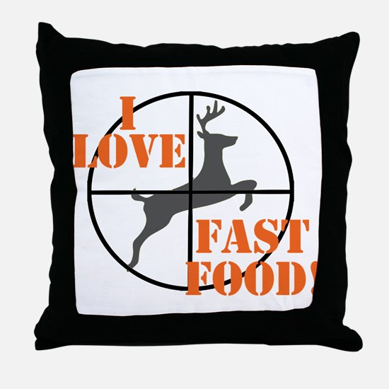 I Love Fast Food Throw Pillow