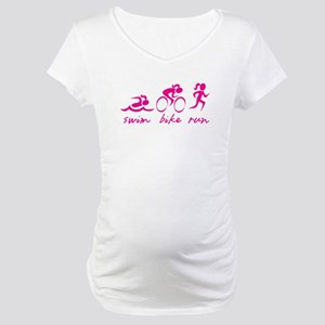 Swim Bike Run (Girl) Maternity T-Shirt