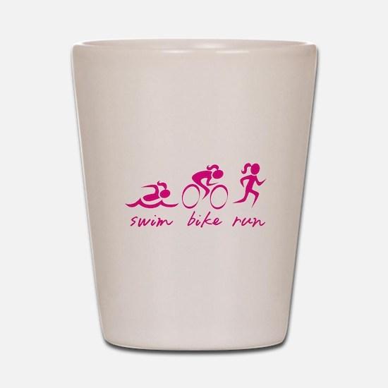 Swim Bike Run (Girl) Shot Glass