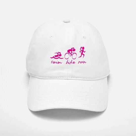 Swim Bike Run (Girl) Baseball Baseball Cap