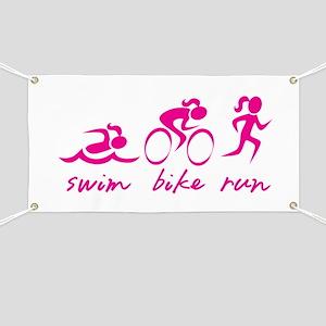 Swim Bike Run (Girl) Banner