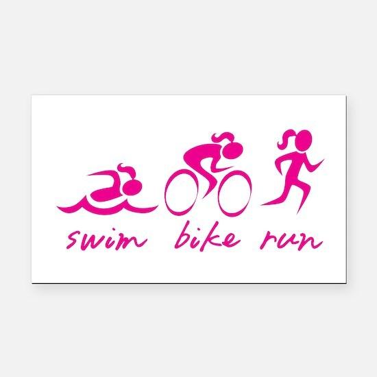 Swim Bike Run (Girl) Rectangle Car Magnet