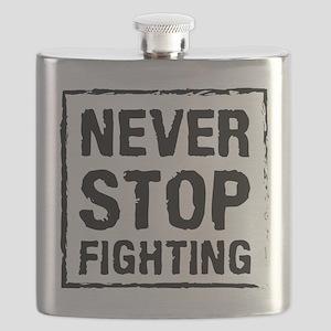 Never Stop Fighting (Black) Flask