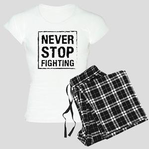 Never Stop Fighting (Black) Women's Light Pajamas
