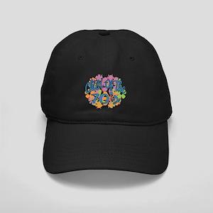 70's Seventies Child Retro Flower Black Cap