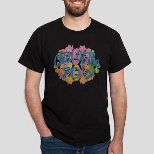 70's Seventies Child Retro Flower Dark T-Shirt