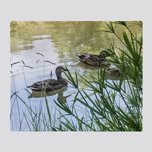 Ducks On a Reflection Pond Throw Blanket