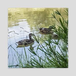 Ducks On a Reflection Pond Queen Duvet