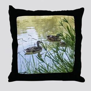 Ducks On a Reflection Pond Throw Pillow