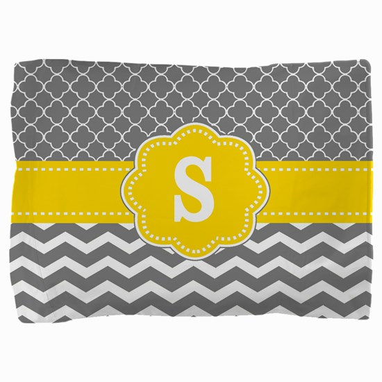 Gray Yellow Quatrefoil Chevron Monogram Pillow Sha