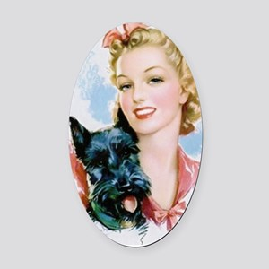Beauty And Scottie Oval Car Magnet