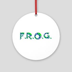 Aqua FROG Scales Ornament (Round)
