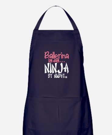 Ballerina By Day Ninja By Night Apron (dark)