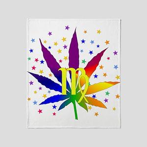 Rainbow Marijuana Virgo Throw Blanket