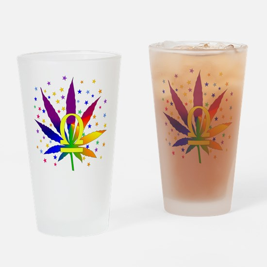 Rainbow Marijuana Libra Drinking Glass