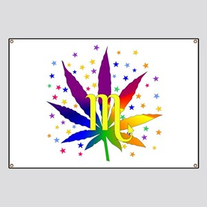 Rainbow Marijuana Scorpio Banner