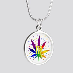 Rainbow Marijuana Scorpio Silver Round Necklace