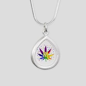 Rainbow Marijuana Scorpi Silver Teardrop Necklace