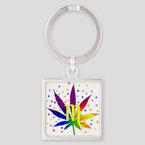 Rainbow Marijuana Scorpio Square Keychain