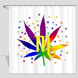 Rainbow Marijuana Scorpio Shower Curtain