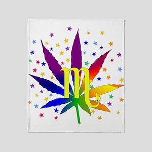 Rainbow Marijuana Scorpio Throw Blanket