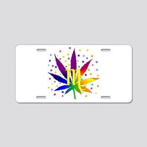Rainbow Marijuana Scorpio Aluminum License Plate