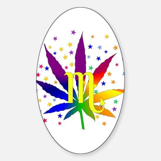 Rainbow Marijuana Scorpio Sticker (Oval)
