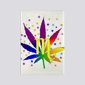 Rainbow Marijuana Scorpio Rectangle Magnet
