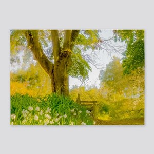 Golden Scene with Tree and Bench 5'x7'Area Rug