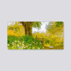Golden Scene with Tree and Aluminum License Plate