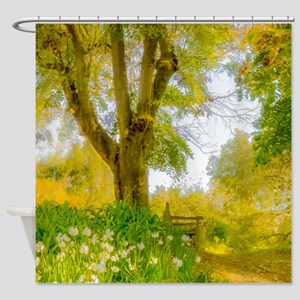 Golden Scene with Tree and Bench Shower Curtain