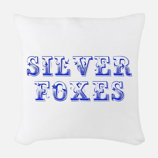 Silver Foxes-Max blue 400 Woven Throw Pillow