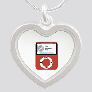 Ipad Oboe Silver Heart Necklace