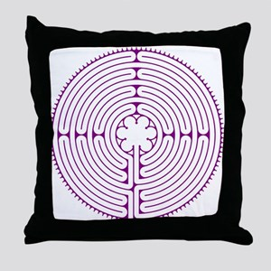 Chartres Labyrinth (purple) Throw Pillow