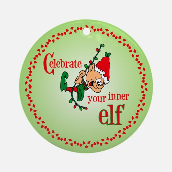 Inner Elf Christmas Ornament (Round)