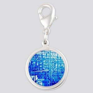 Blue Electrical Substation Silver Round Charm