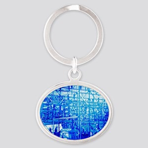 Blue Electrical Substation Oval Keychain