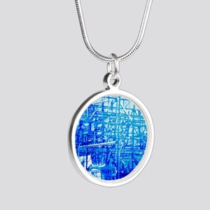 Blue Electrical Substation Silver Round Necklace