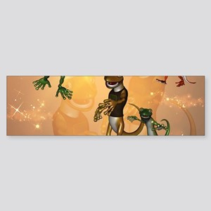 Funny playing cartoon geckos Bumper Sticker