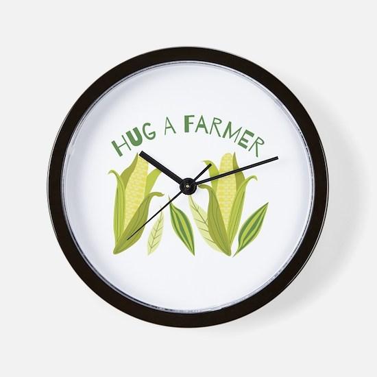 Hug A Farmer Wall Clock