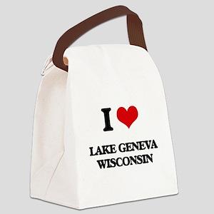 I love Lake Geneva Wisconsin Canvas Lunch Bag