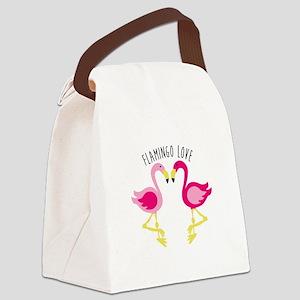 Flamingo Love Canvas Lunch Bag